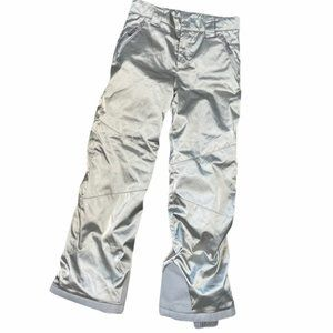 SPYDER Girls Silver Metallic Snowboard Ski Pants